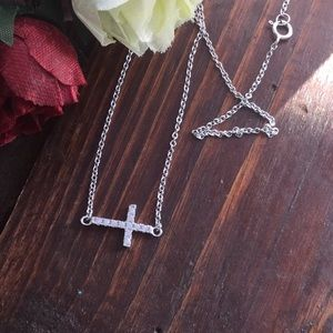 Solid silver side cross necklace